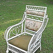 Rare Antique Victorian Wicker Arm Chair