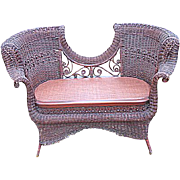 Rare Antique Victorian Ornate Natural Wicker Settee