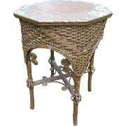 Fancy Antique Victorian Wicker Tabouret Table