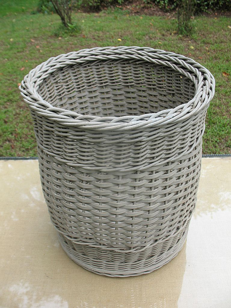 Rattan Basket Weaving Patterns : Wicker basket with weave patterns and wood bottom circa