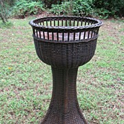 Art Deco Natural Wicker Pedestal Fernery