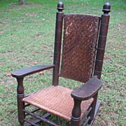 Antique Natural Gentleman's Wicker Porch Rocker