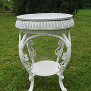 Fancy Round  Victorian Wicker Table Circa 1890's