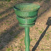 Wicker Art Deco Pedestal Fernery in  Original Colors