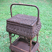 Ornate Antique Victorian Wicker Sewing Stand