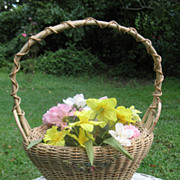 Large Wicker  Basket with Applied Gesso  Barbola Flowers