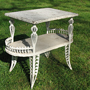 SALE Antique Victorian Wicker Table