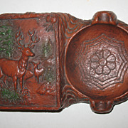 SALE Deer Buck Forest Syroco Box with Lid and Ashtray Masculine