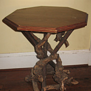 SALE Rare Antique Rustic Root Table  Adirondack