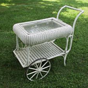 Antique Wicker Tea Cart with Removable Tray Top