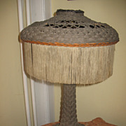Shapely Tall Wicker Table Lamp Circa 1920's