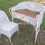Art Deco Wicker Desk and Matching Chair Circa 1920's