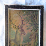 Charming Antique Lithograph Buck Doe Fawn Circa 1890's