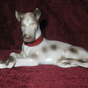 Porcelain Harlequin Great Dane Dog Figurine