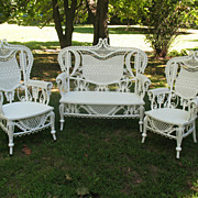Rare Ornate Antique Victorian 3 Piece Wicker Set Circa 1890's