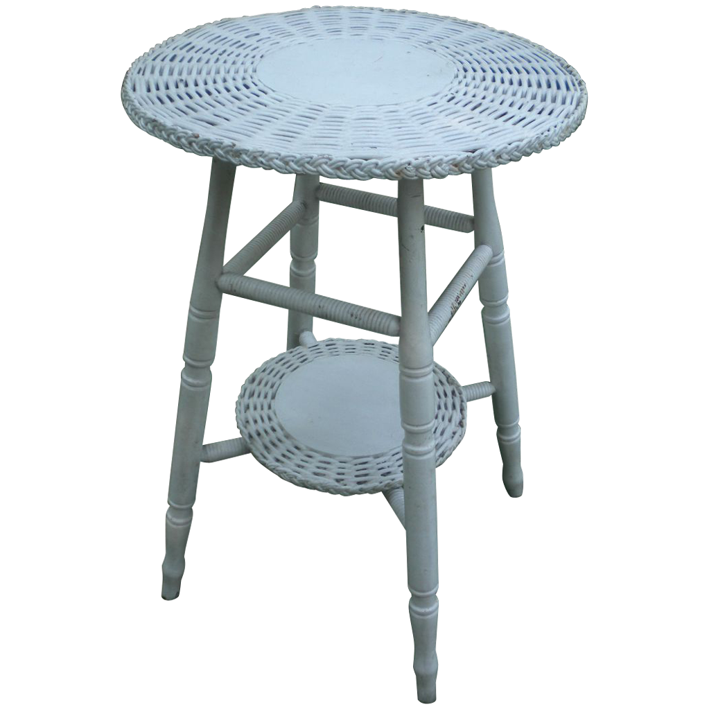Small Round Bar Harbor Wicker Table Circa 1920s From