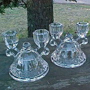 Elegant Crocheted Crystal Double Candle Holders - Imperial Glass