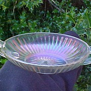 Clambroth Carnival Double Handled Olive or Pickle Dish - Imperial Glass