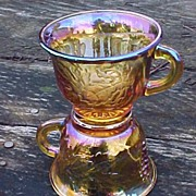 SOLD Gold Carnival Punch Cups - Harvest Pattern - Indiana Glass