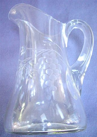 Beautiful Engraved Grape Design Pitcher