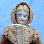 SALE Impressive Early Low Brow China Head on Factory Body (circa 1890).