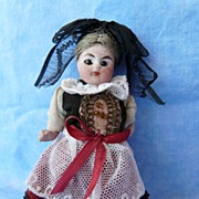 SALE Enchanting All Bisque French-Type Souvenir Girl in Original Regional Costume