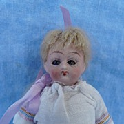 SALE Appealing Early Style All Bisque with Blue Glass Eyes and Original Clothes