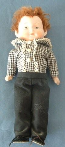 Cute as a Button 9-inch German Composition Boy with Skin Wig