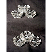 SALE Open Salts Six Matching Molded Glass