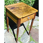SALE Stand or Table Country Furniture Solid Tiger Maple with Cherry Drawer
