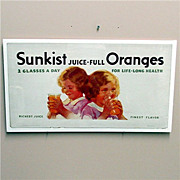 SALE Sunkist Orange Juice Lithograph Advertising Sign