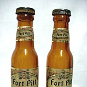 SALE Salt and Pepper Shakers Miniature Fort Pitt Beer Bottles