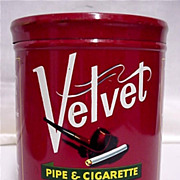 SALE Humidor Tin Velvet  Pipe and Cigarette Tobacco Tin
