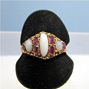 SALE Ruby and Opal Ring, 15 Karat Gold, Circa 1873 , Size 8 1/2