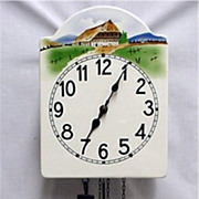 SALE Austrian Wall Clock Weight Driven Porcelain Dial