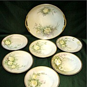 SALE Cake Set  Nippon Porcelain  Artist Signed