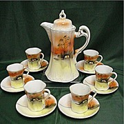 SALE Coffee Service Hand Painted Porcelain Service for 6