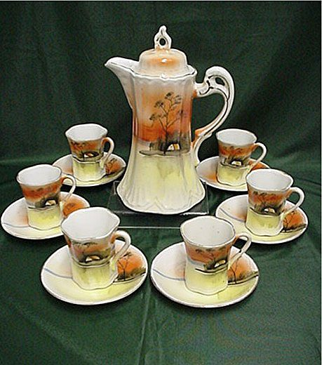 Coffee Service Hand Painted Porcelain Service for 6