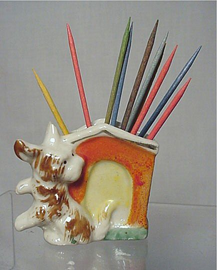 Porcelain Toothpick Holder Scottie Dog
