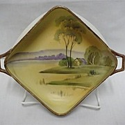SALE Nippon Dish  Bisque Finish Hand Painted Landscape