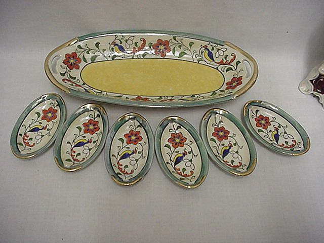 Celery Set Luster Ware Master Dish and Six Salts Matching