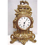 SALE French Gold Gilt Railroad Presentation Clock 50% OFF