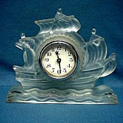 SALE Antique Clock Glass Ship 50% OFF