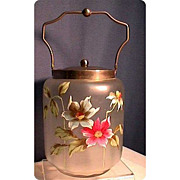 SALE Biscuit Jar or Barrel American Glass Hand Painted