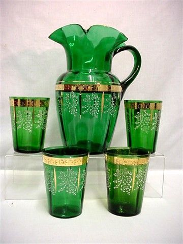 Lemonade or Water Set Antique American Glass Pitcher and 4 Glasses
