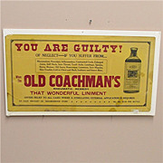 SALE Drugstore or Pharmacy Advertising Sign for Old Coachmans Rheumatic Remedy