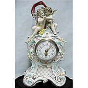 SALE Porcelain Clock Ludwigsburg Circa 1758 - 1793 With Original Glass Dome and Wood Base