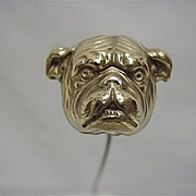 SALE Hat Pin Bull Dog Gold Gilt Hatpin  $155