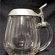 SALE Beer Stein Clear Glass with Pewter Lid