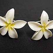 SALE White Ivorine Flower Earrings